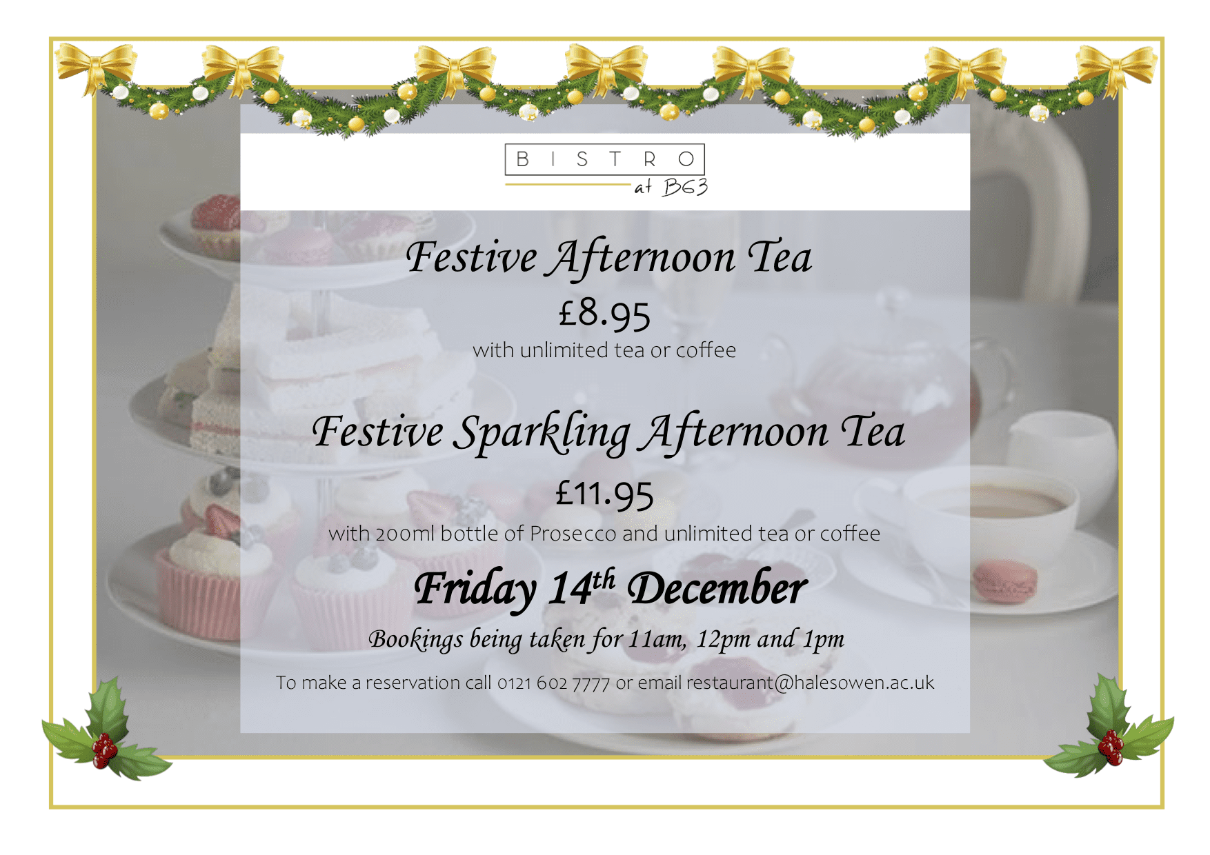 Festive afternoon tea menu